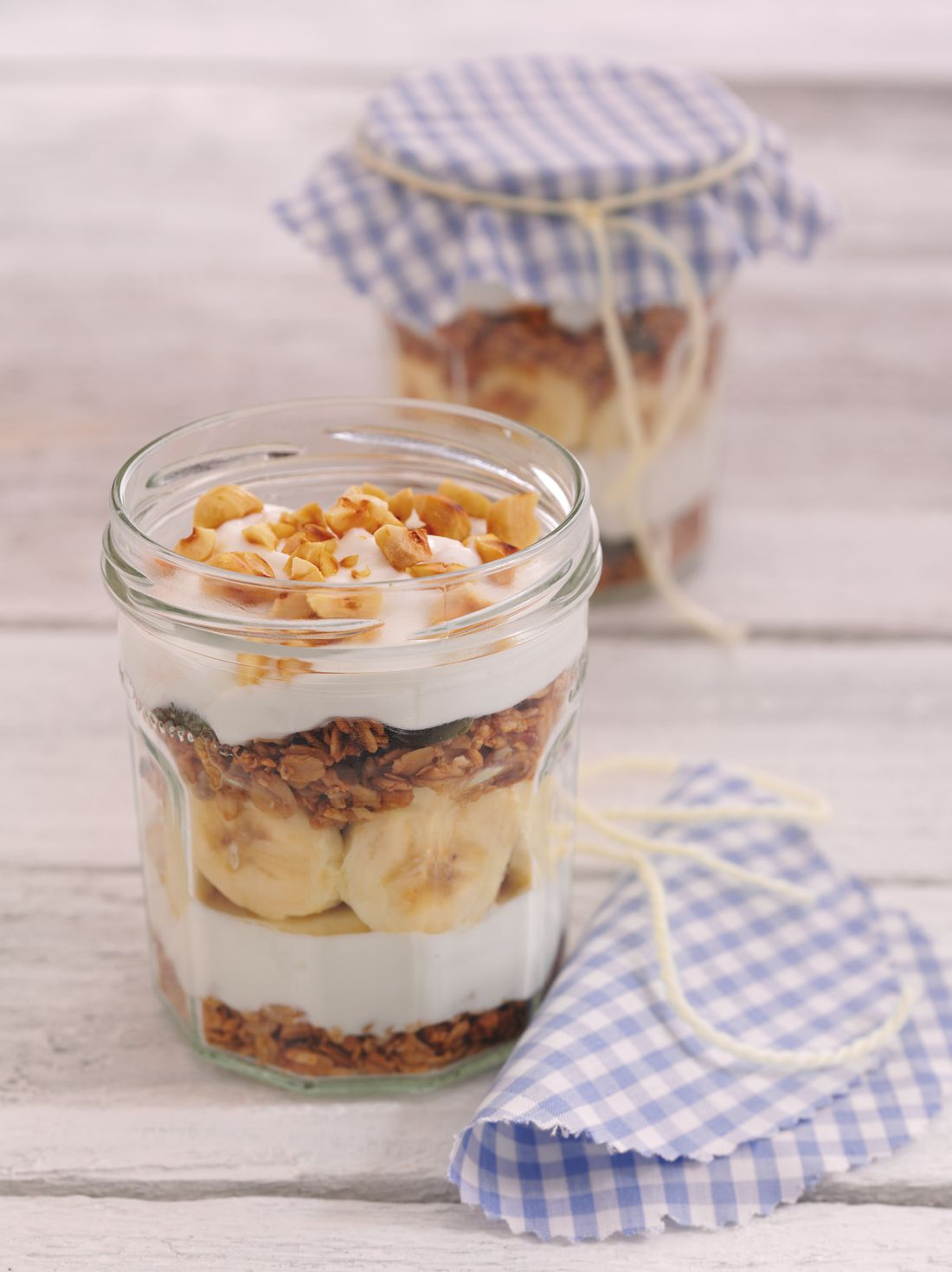 Yoghurt, Granola, Cereals, Oats, Bananas, Greek Yoghurt, Nuts and Honey