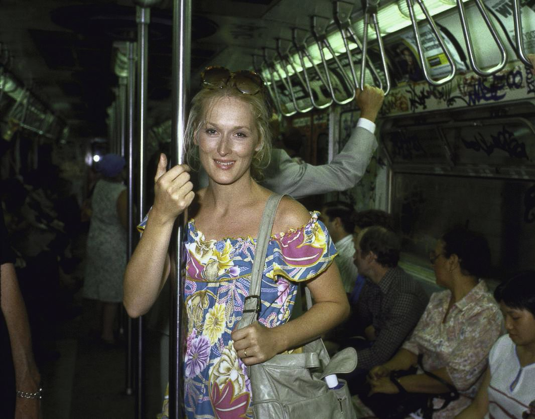 Meryl Streep on the Subway in Manhattan, New York in 1981