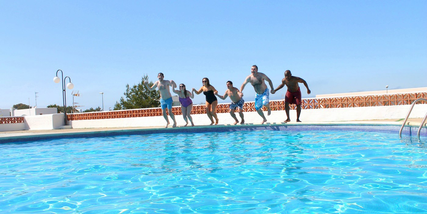 Sunshine, Sangria, Pool Diving, Friends, Fun in Ibiza, Spain on Holiday (17)