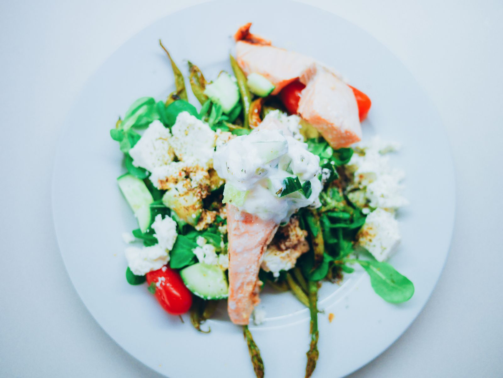 Zesty fresh salmon, herby tzatziki and wholesome baked asparagus recipe. Greek meal recipe (11)