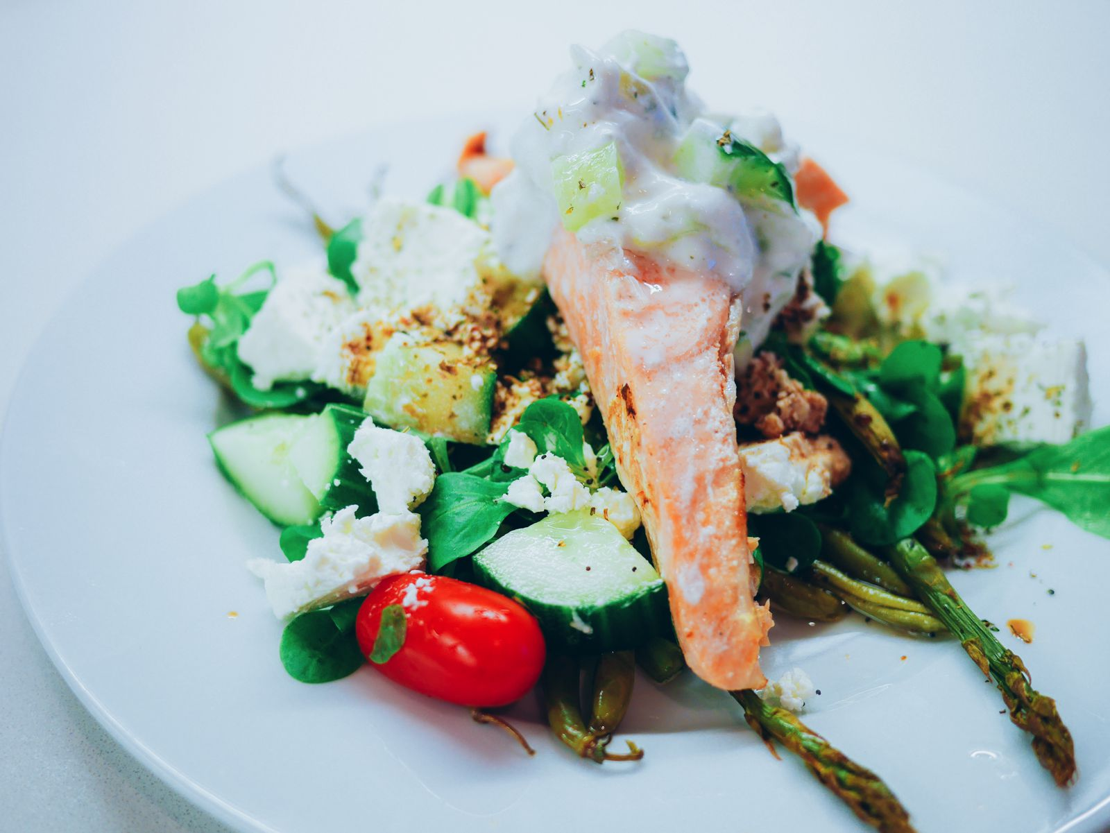 Zesty fresh salmon, herby tzatziki and wholesome baked asparagus recipe. Greek meal recipe (12)