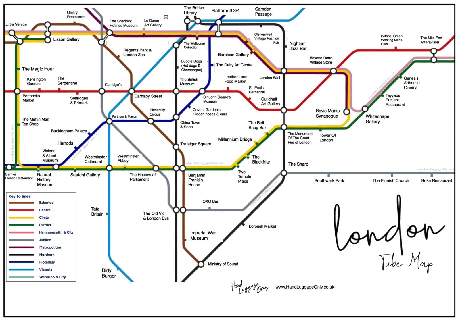 Tube Map Of London.London Underground Map What To See At Each Stop Hand