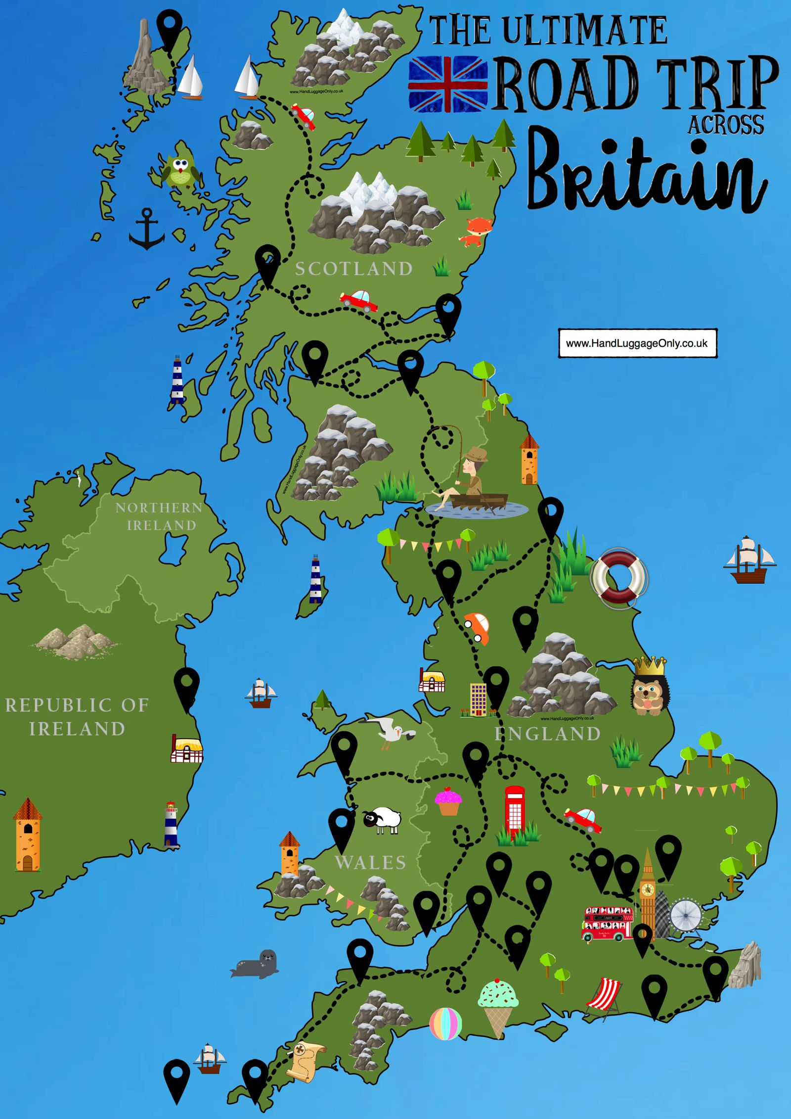 Map Of Ireland England.The Ultimate Road Trip Map Of 26 Places To See Across Great Britain