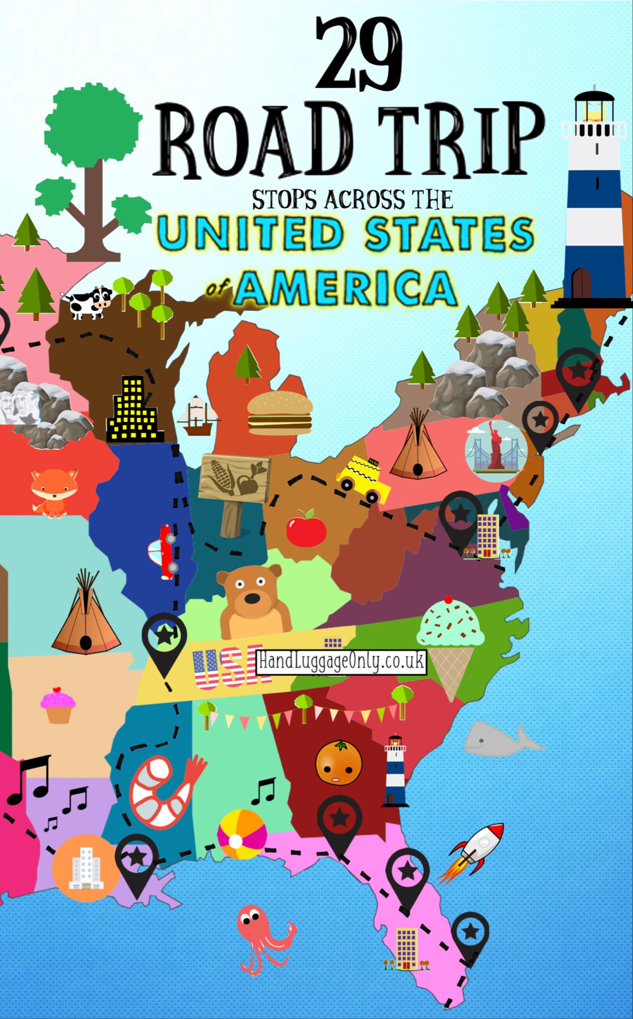Usa Travel Advice >> The Ultimate Road Trip Map Of Things To Do In The Usa Hand Luggage