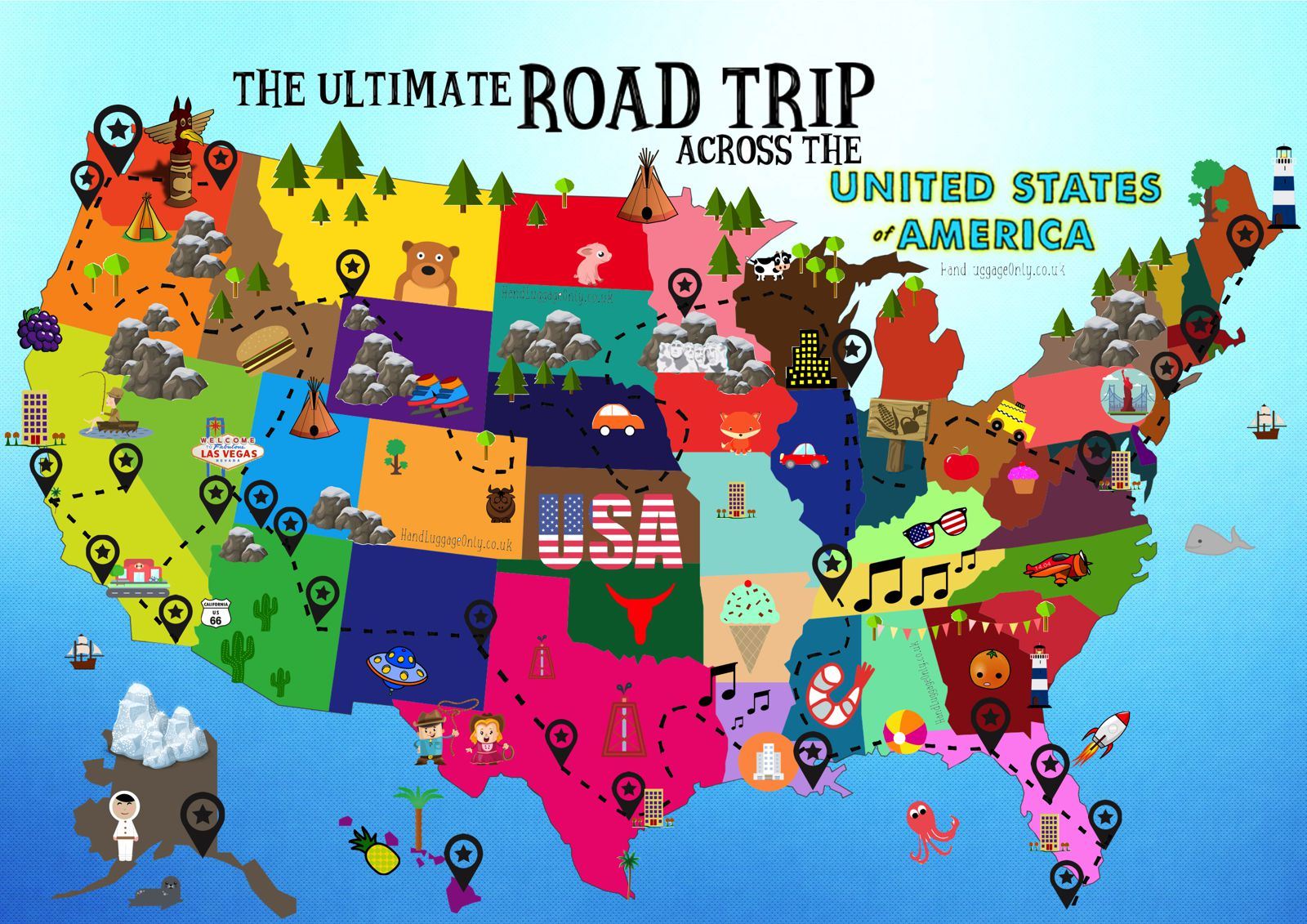 Map Of The United States Picture.The Ultimate Road Trip Map Of Things To Do In The Usa Hand Luggage