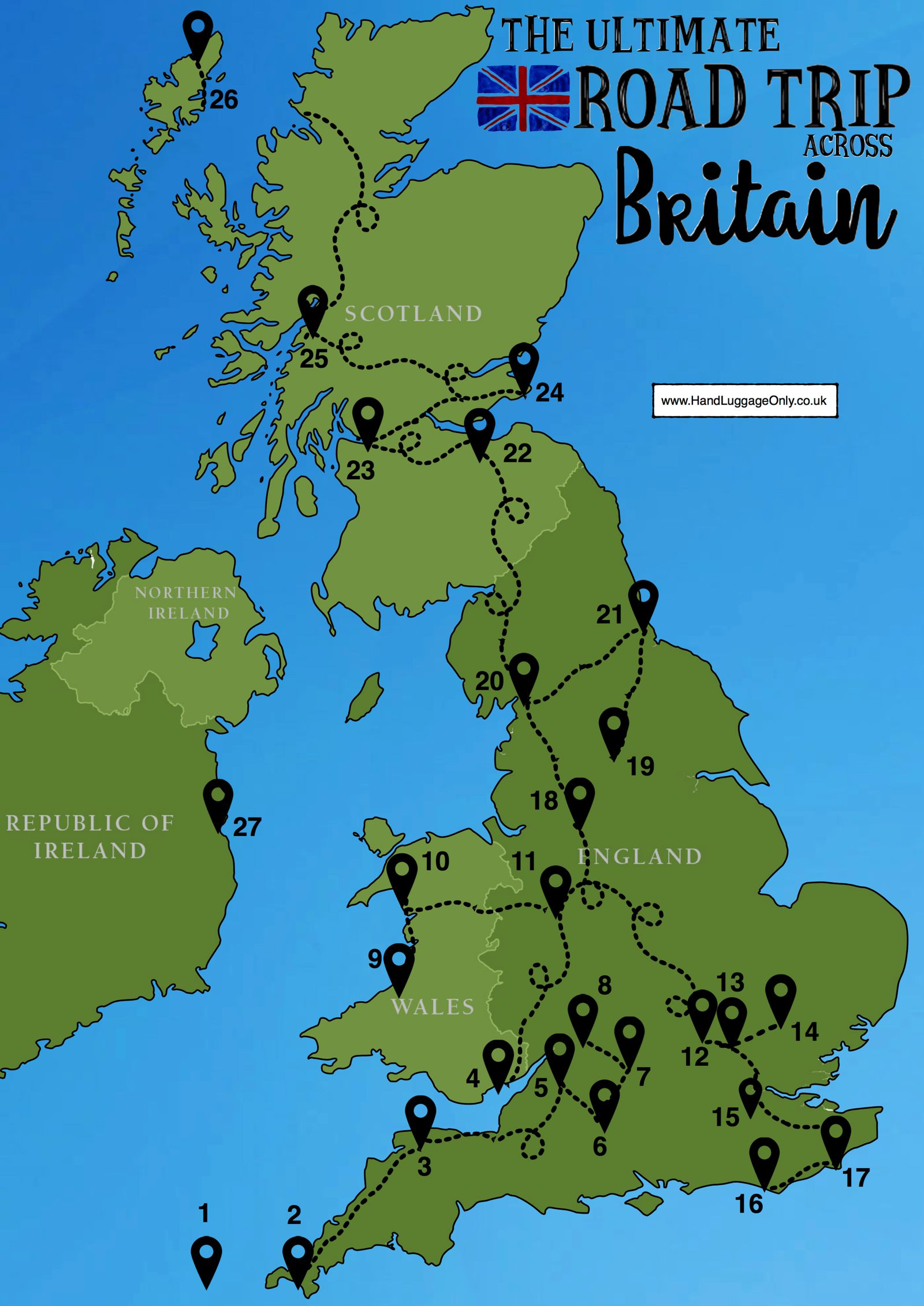 Map Of England Showing Cornwall.The Ultimate Road Trip Map Of 26 Places To See Across Great Britain