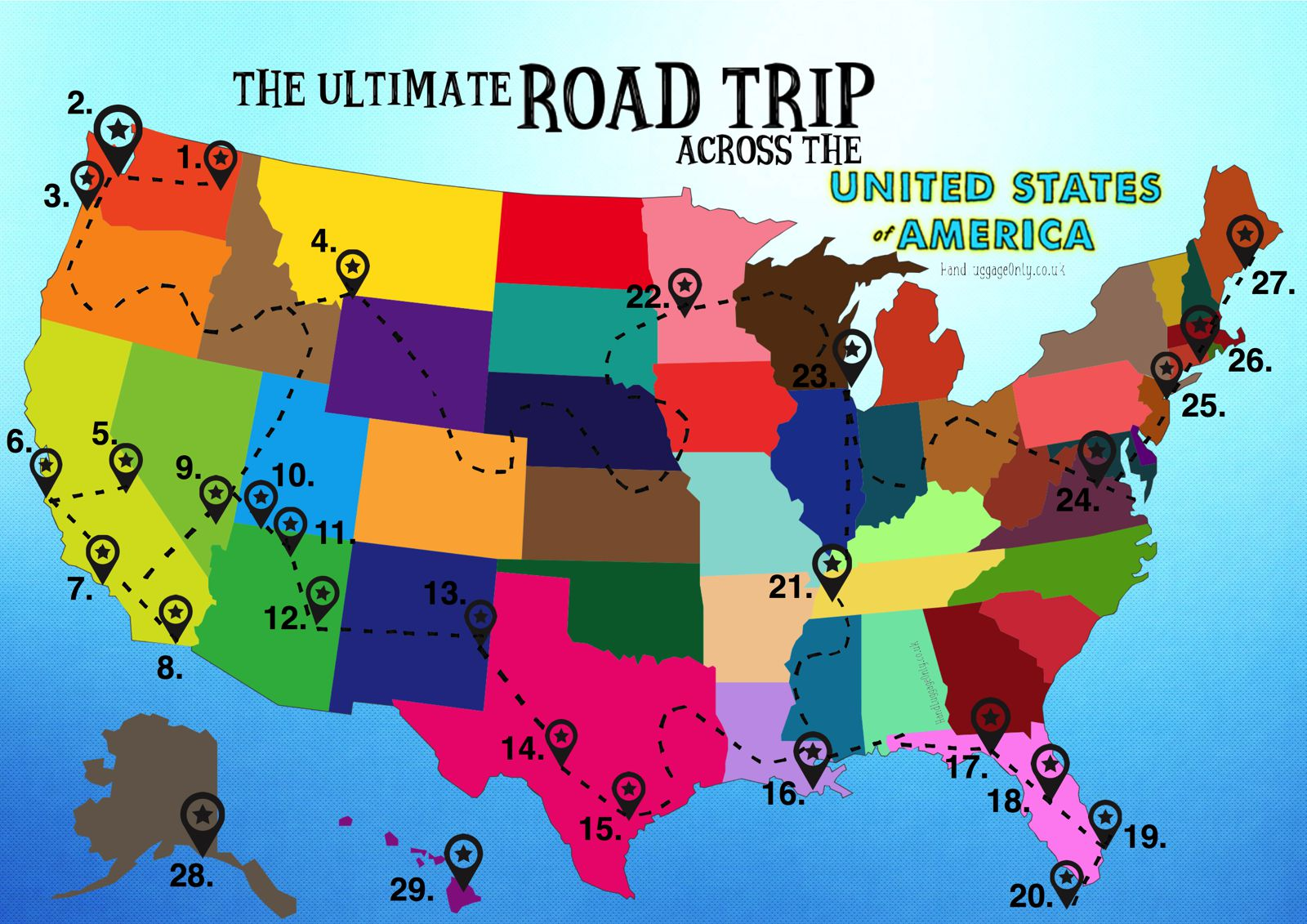 This Man Planned The Most Epic And Efficient Road Trip Of All The - Us highway travel map