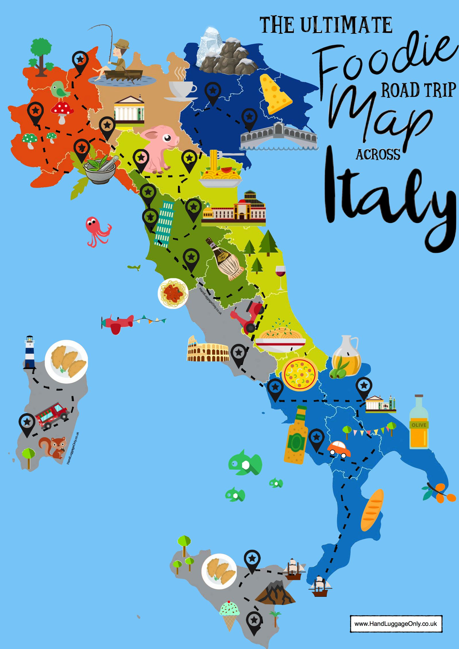 the ultimate map of what to eat in italy and where  hand luggage  - italy food map showing where and what to eat in italy ()