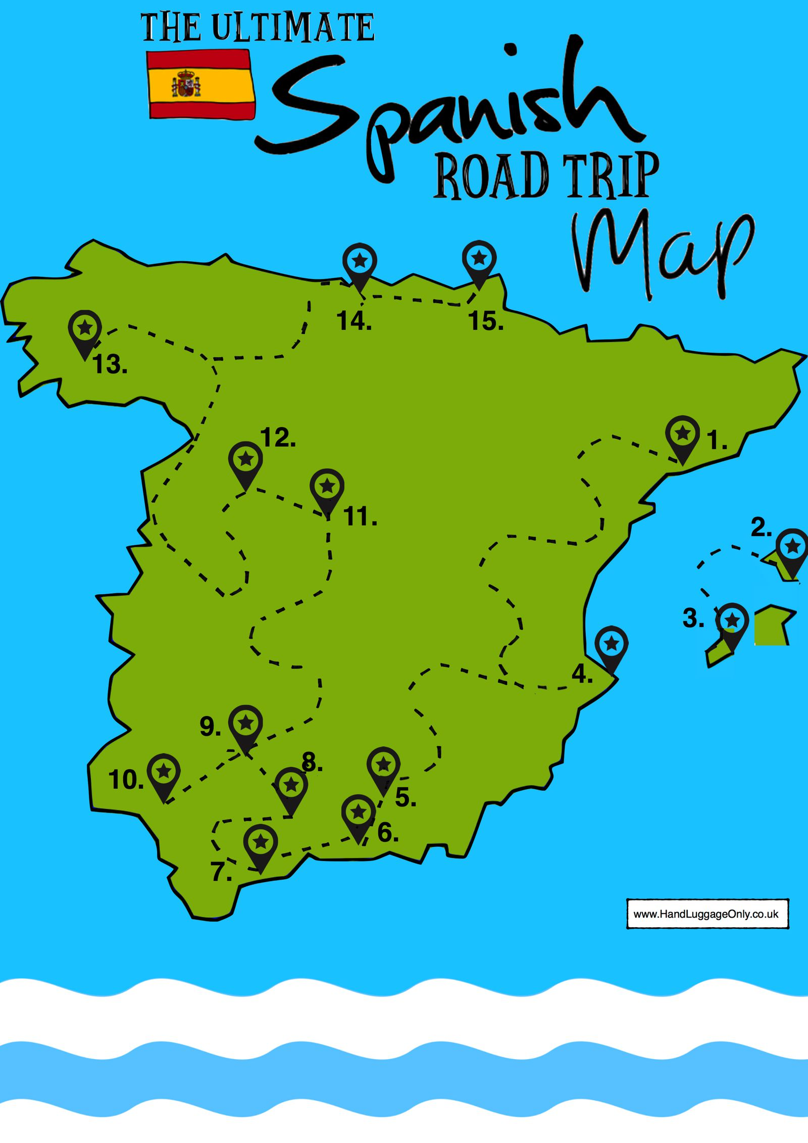 15 Beautiful Places To Visit In Spain - Interactive Map - Hand ...