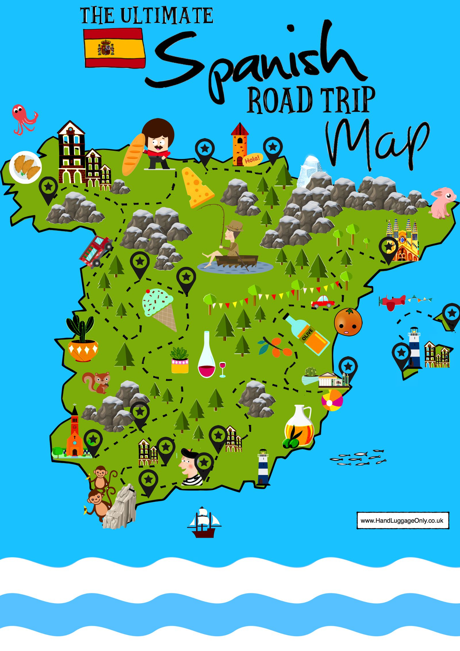 Travel Map Of Spain.15 Beautiful Places To Visit In Spain Interactive Map Hand