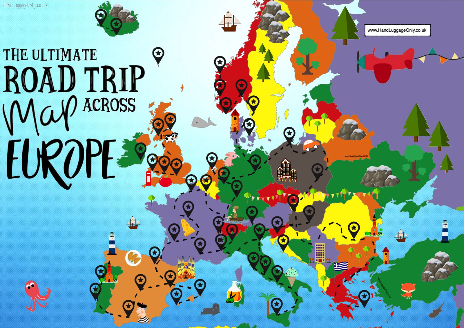 The Complete Europe Road Trip Map: 49 Places To Visit And ... on adventure map, history map, folded map, florida map, book map, nature map, rock map, love map, vacation map, science map, cats map, friendship map, us highway map, restaurant map, world map, go map, technology map, random map, black map, vintage map,
