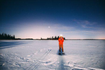 Midnight Moonlight Snowshoeing On A Frozen Lake… In Edmonton, Canada