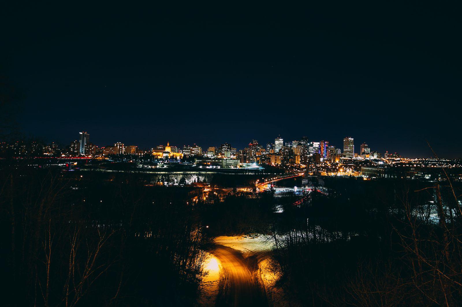 Midnight Moonlight Snowshoeing... In Edmonton, Canada (54)