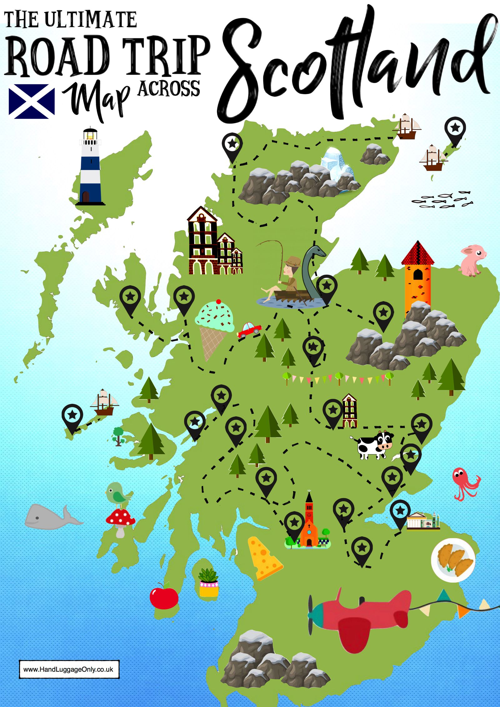 Map Of Uk And Scotland.The Ultimate Map Of Things To See When Visiting Scotland Hand